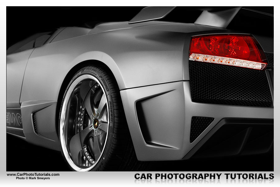 This very special looking Murciélago was photographed inside the same showroom as the Gallardo in this tutorial