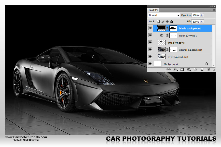 By effectively using the layer mask to reveal the Lamborghini in this photo again and keeping the background covered the overall look is much cleaner