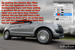 Motion blur and a layer mask combined shows a different amount at the back compared to the front of the car